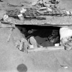Marine sleeping in foxhole on Iwo Jima