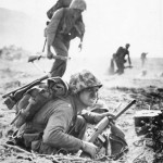 Marines Advance across Table Land of Iwo Jima pacific