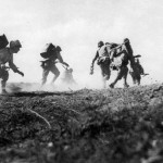 Marines Charge Under Japanese Fire Iwo Jima Beach