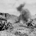 Marines and Sherman Attack Japanese Position on Northern Iwo Jima