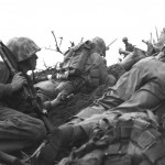 Marines pinned down during the first day of the assault.