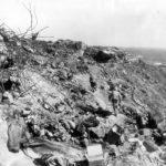 Marines take cover on Iwo Jima