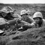 Marines using captured Japanese Type 92 Nambu HMG Iwo Jima 45