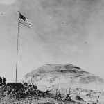 Photo of Mount Suribachi and Marine HQ Iwo Jima