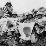 USMC 5th Div. Marines with Captured Japanese Flags on Iwo Jima 1945