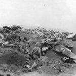Wreckage of planes at Motoyama Airfield No. 1 on Iwo Jima