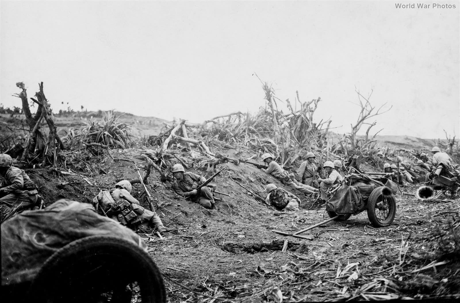 27th Marines weapons Company in action Airfield 2 Iwo Jima 22feb45