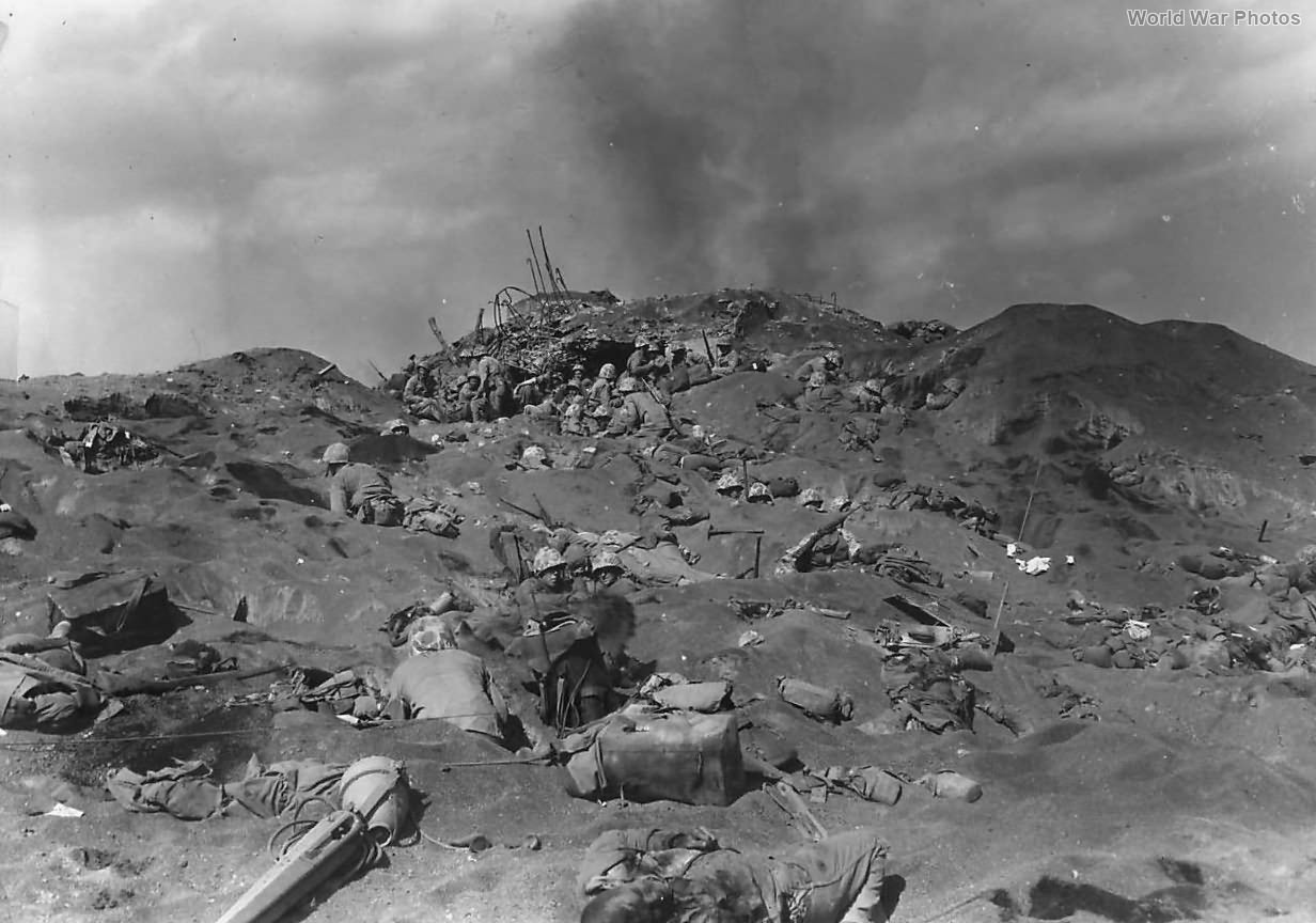4th Division Marines by Fallen Comrades on Iwo Jima