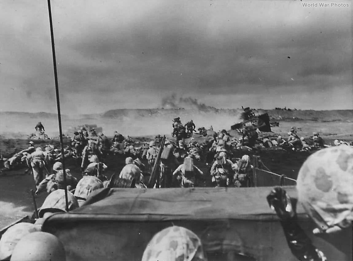 4th Division Marines land on Iwo Jima Beach during D-Day