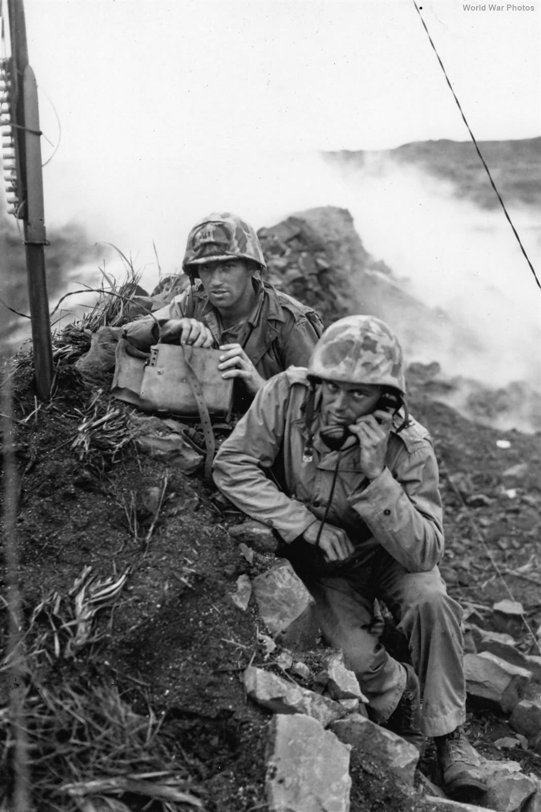 4th Marine Division Commo Team on Iwo Jima 4 March 1945