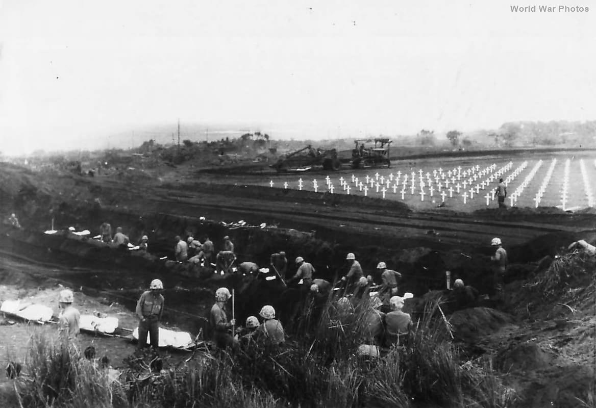 5th Division Marines bury fallen comrades on Iwo Jima