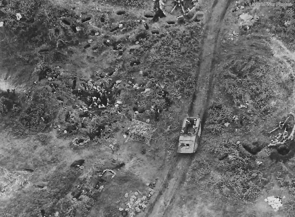 Aerial View Marine position on Iwo Jima D-Day 1