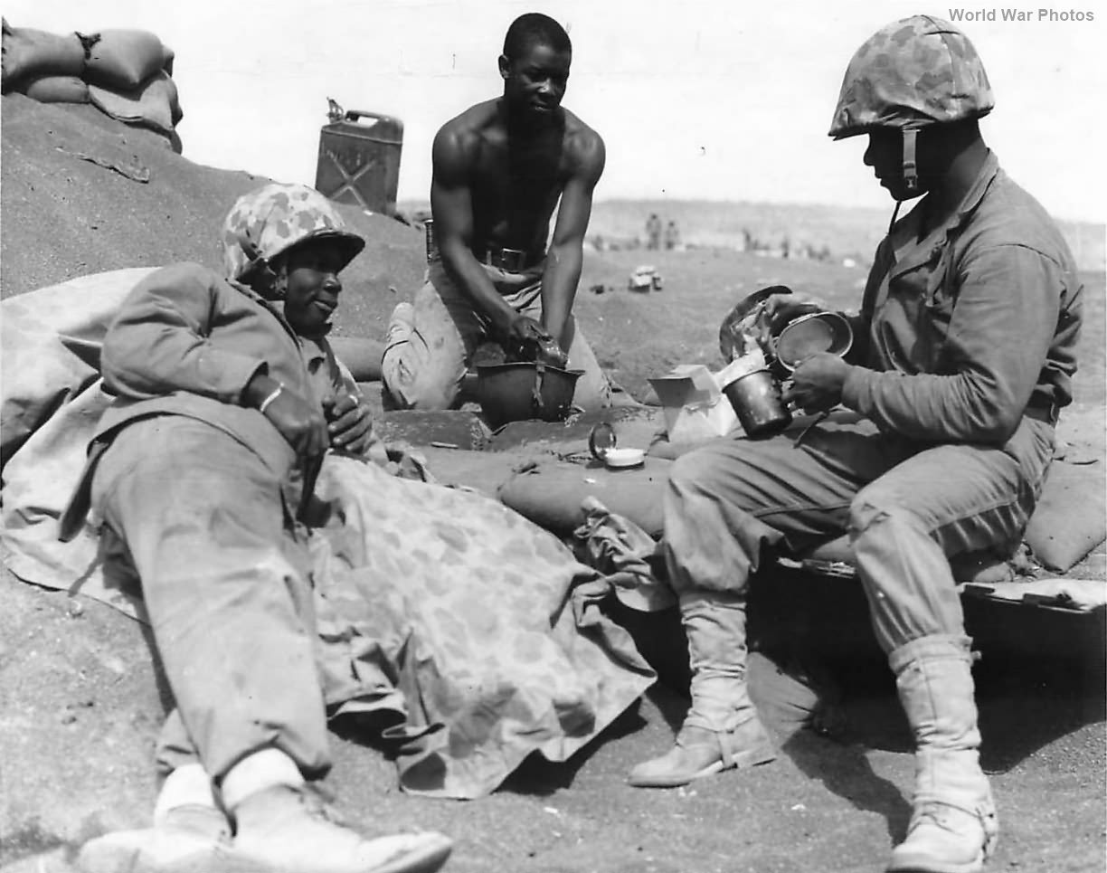 African-American Marines Rest on Beach of Iwo Jima