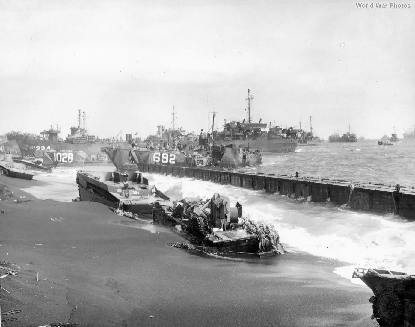 Equipment and ships on Red Beach 1 Iwo Jima