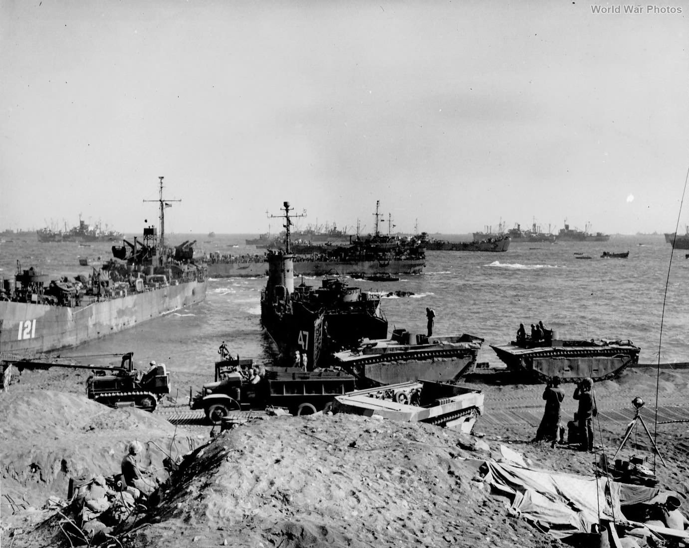 Equipment and ships on Red Beach 1 Iwo Jima 2