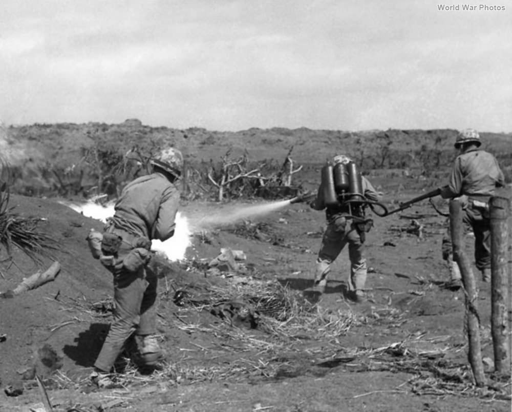 Msrine flame thrower in action