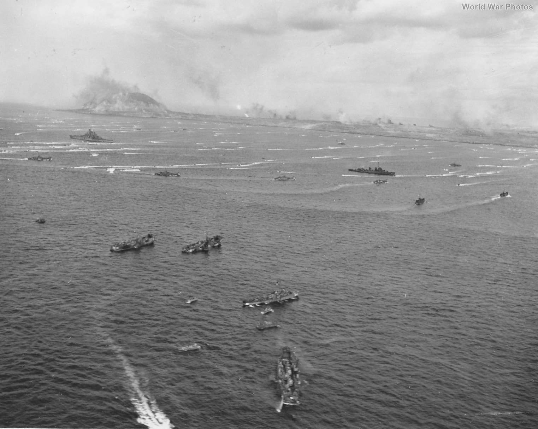 U.S. Navy invasion fleet ships off Iwo Jima 7