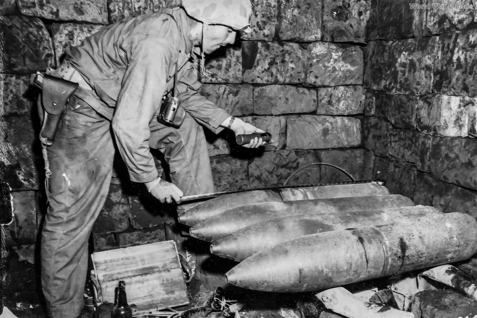Japanese 200mm rockets found in bunker on Iwo Jima Mach 1945