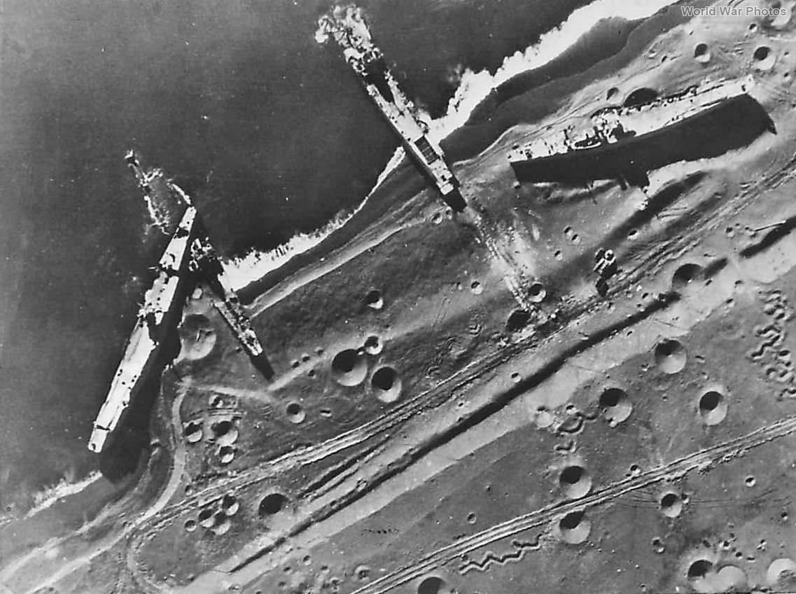 Japanese Landing Vessels beached by US bombs on Iwo Jima