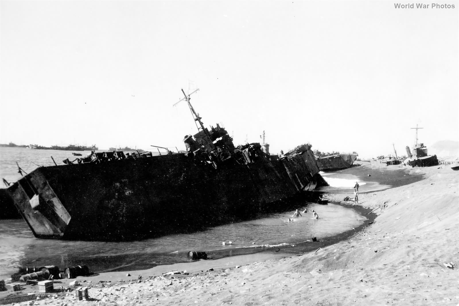 Japanese Type 101 Landing Ship wrecked on Iwo Jima Beach