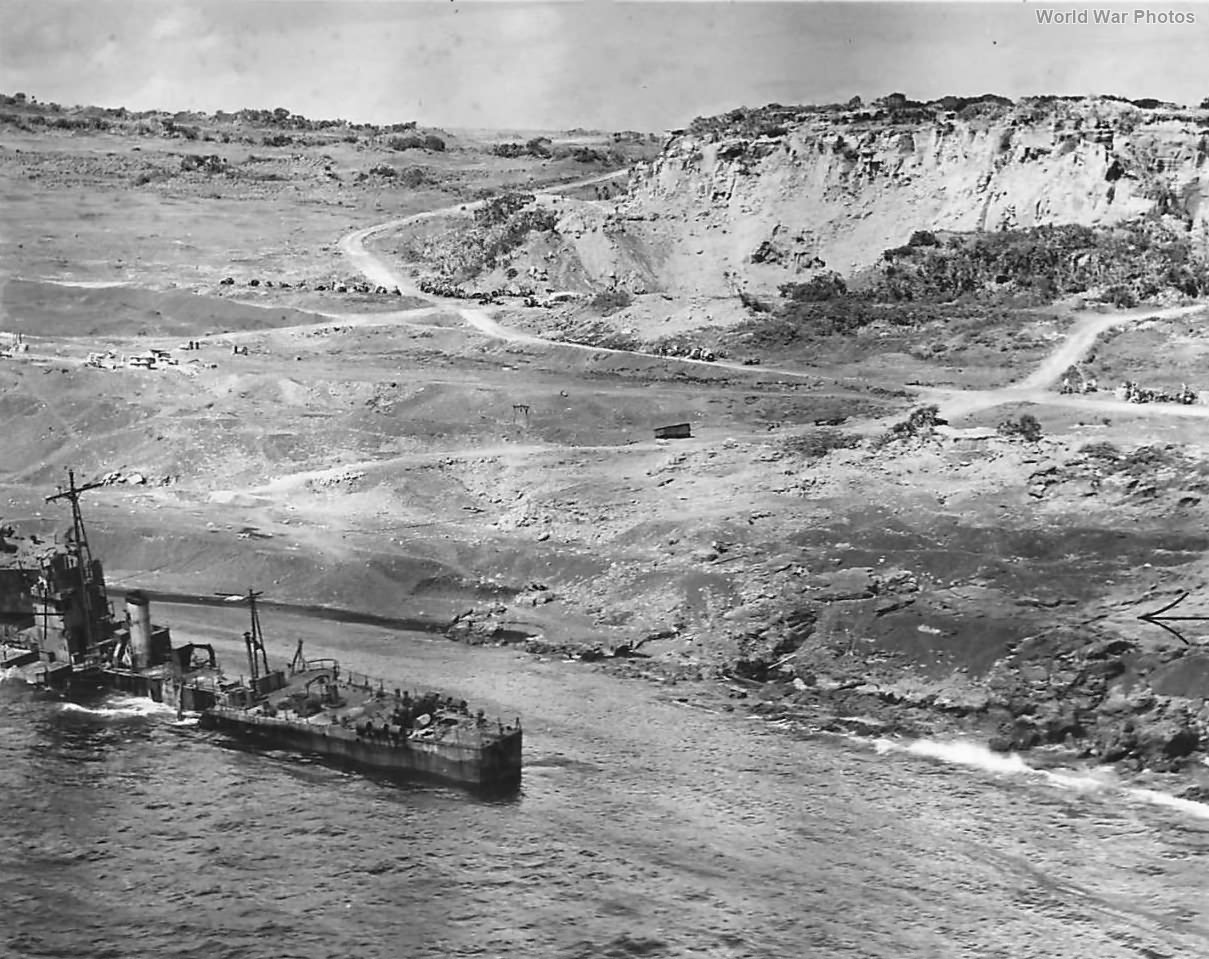 Japanese escort vessel beached on the shore of Iwo Jima