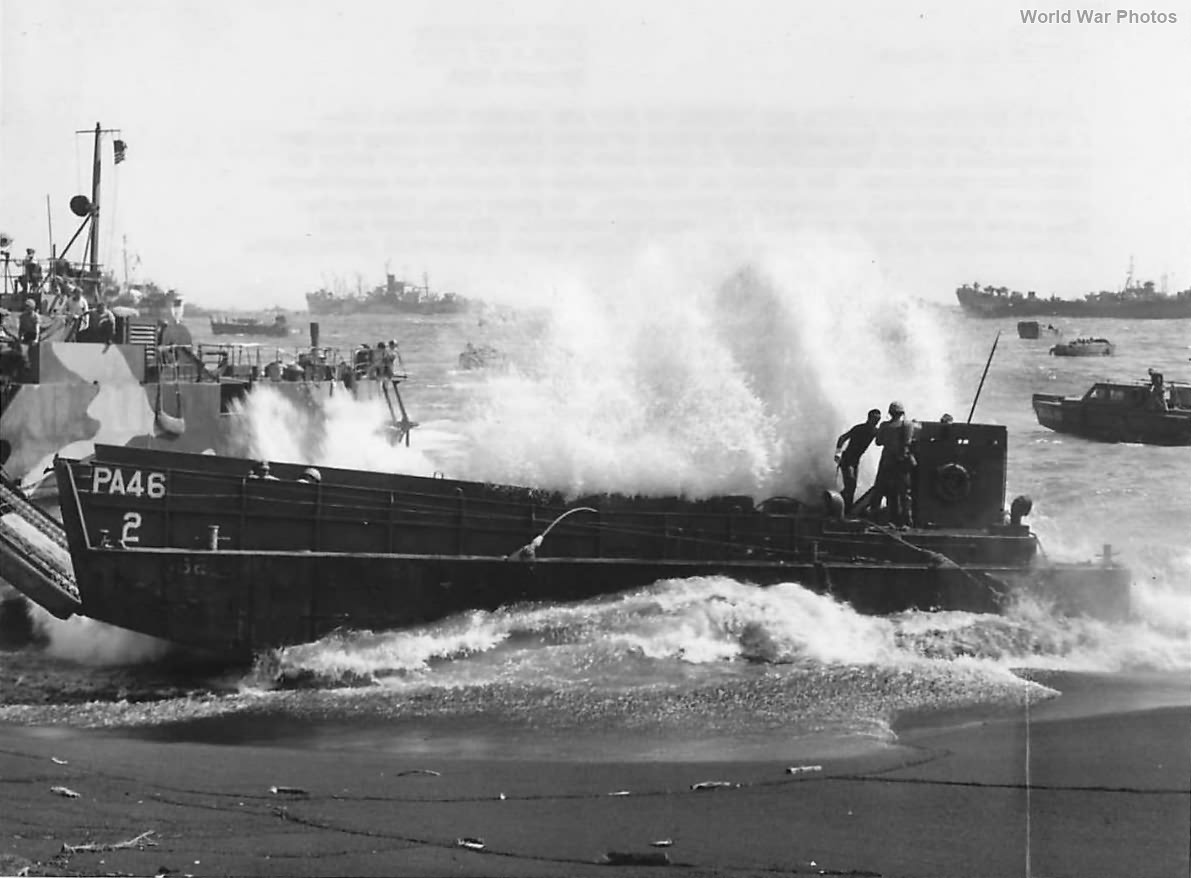 LCM PA-46 from USS Knot battered by surf on Beach of Iwo Jima