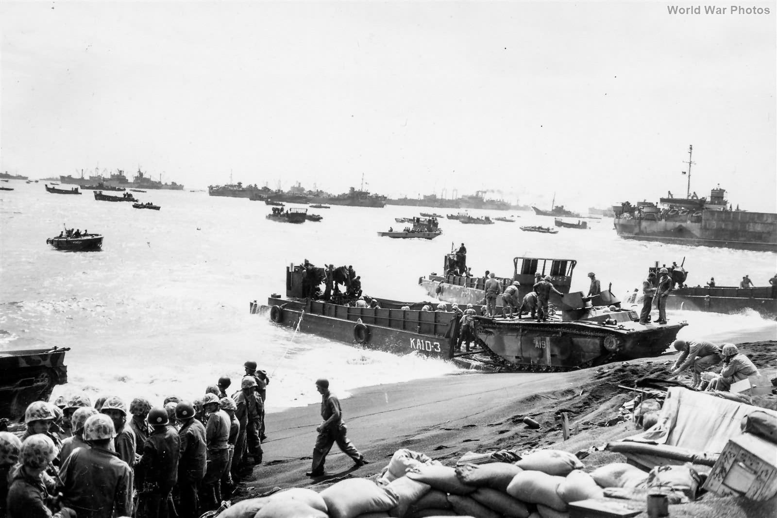LVT DUKWs and LCVPs at Iwo Jima Beach