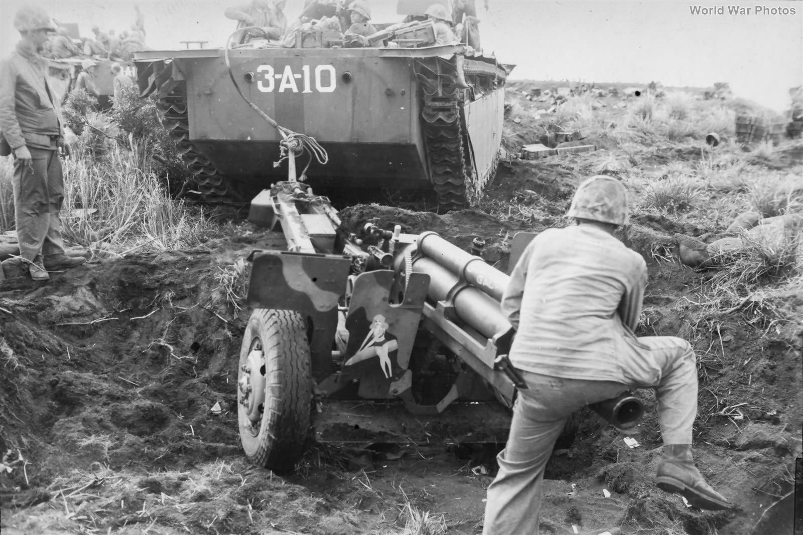 Marine 105mm Howitzer towed by LVT Iwo Jima 23feb