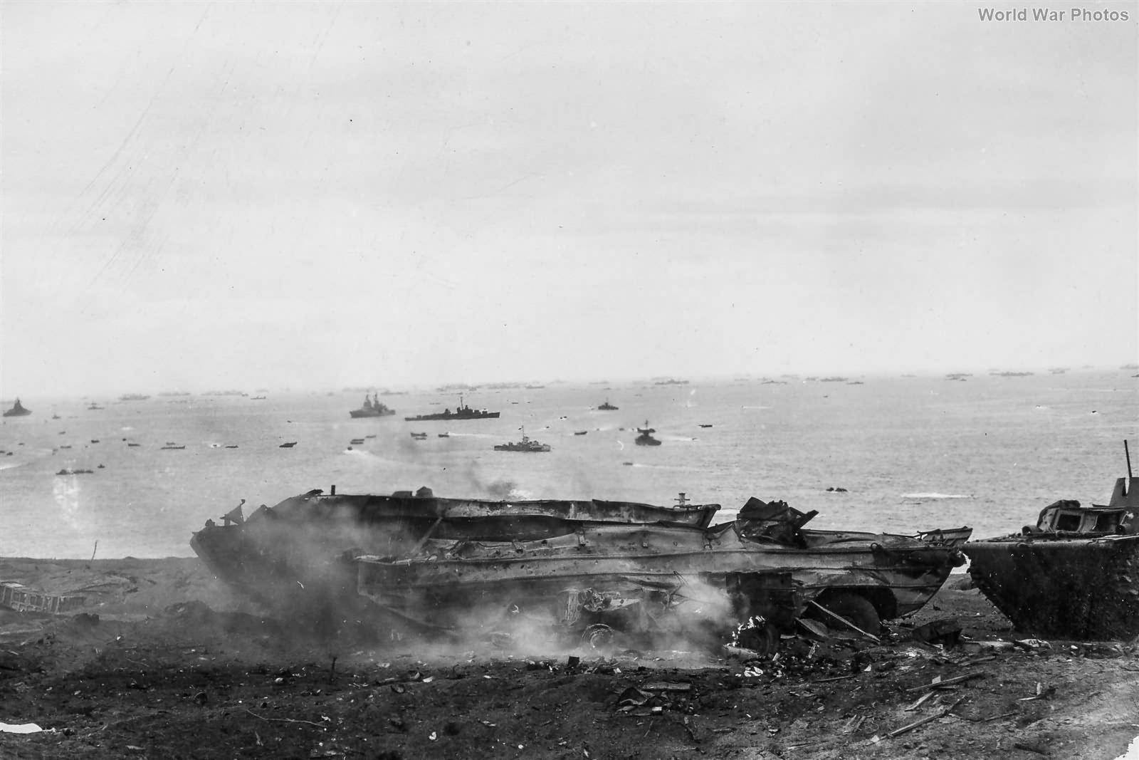 Marine DUKW Burning on Iwo Jima Beach 19feb