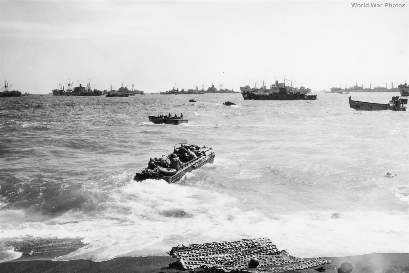 Marine DUKW off Iwo Jima Beach