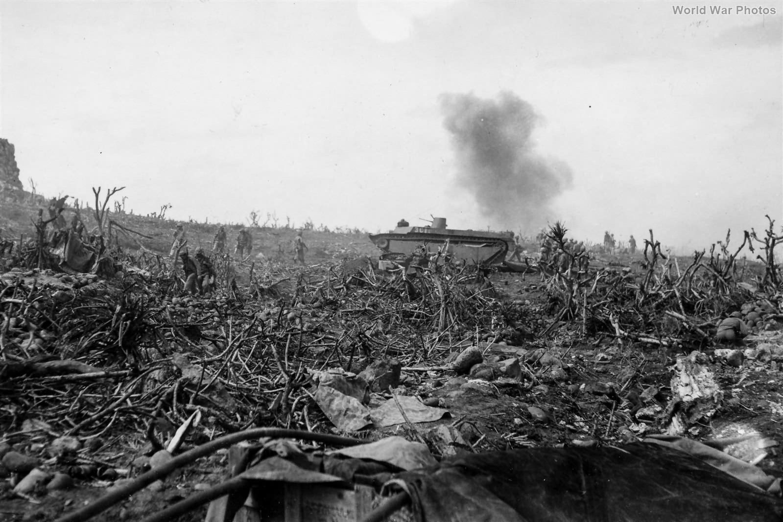 Marine LVT under mortar fire 23feb45