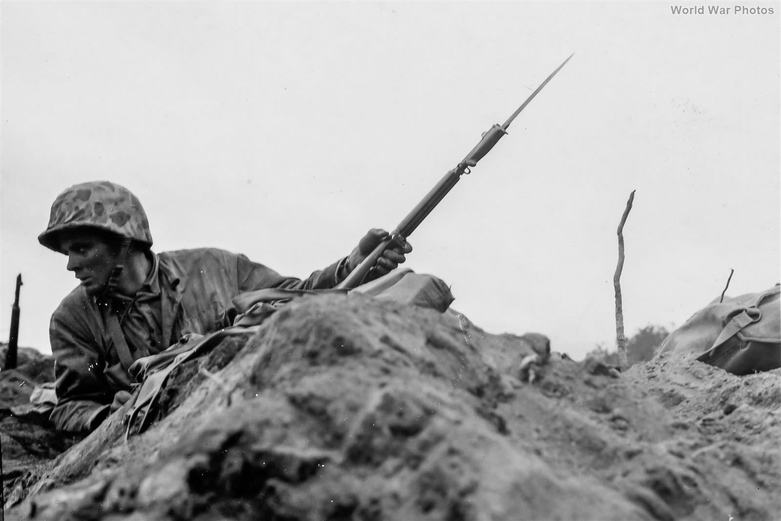 Marine Lieutenant with M1 Garand on Iwo Jima 22feb