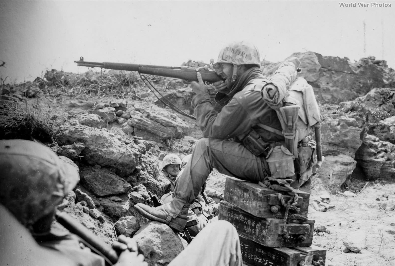 Marine NCO Sharpshooter in Action on Iwo Jima 12mar