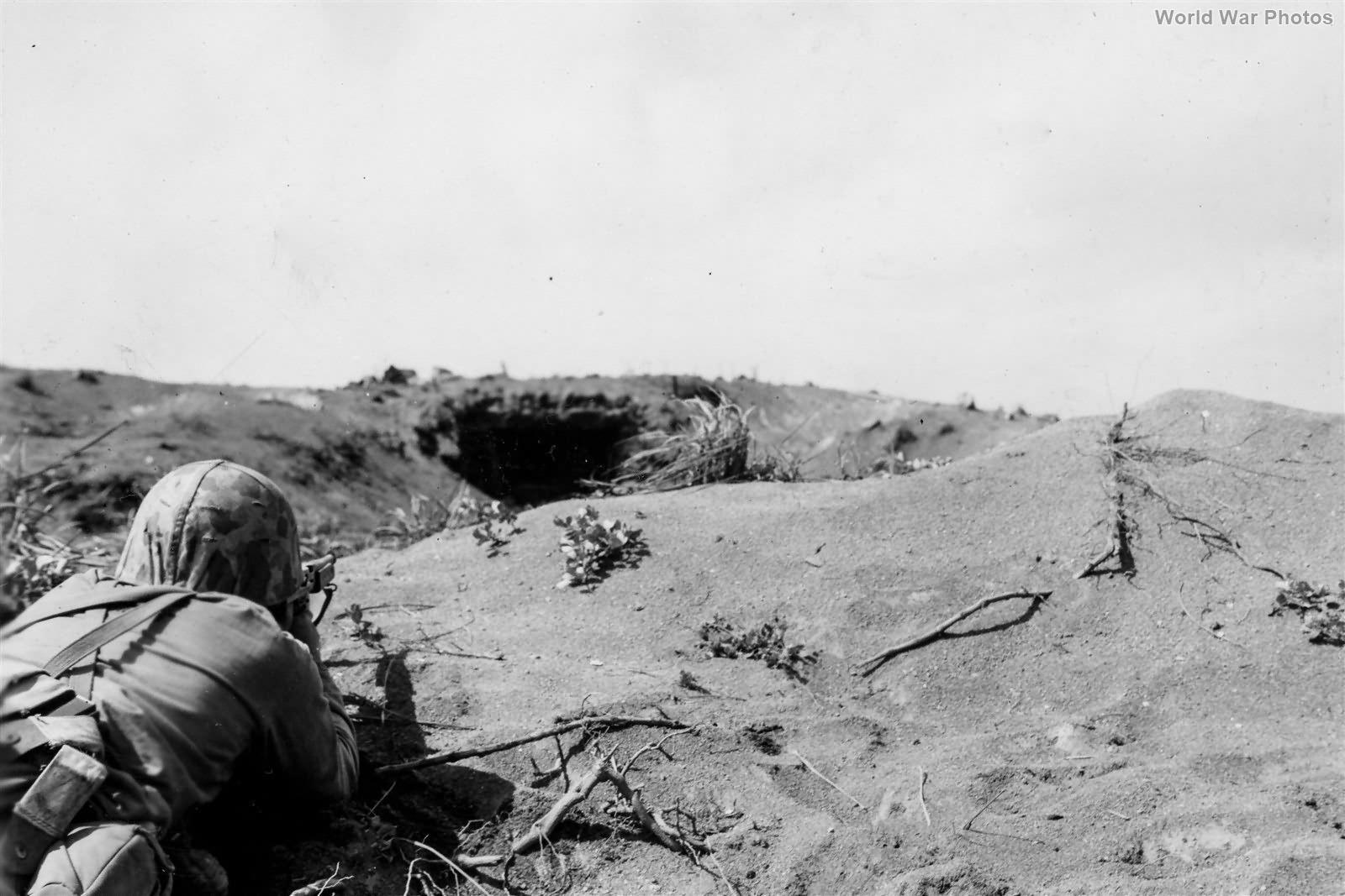 Marine Tommy Gunner covers Japanese Pillbox 1st Day on Iwo Jima 19feb