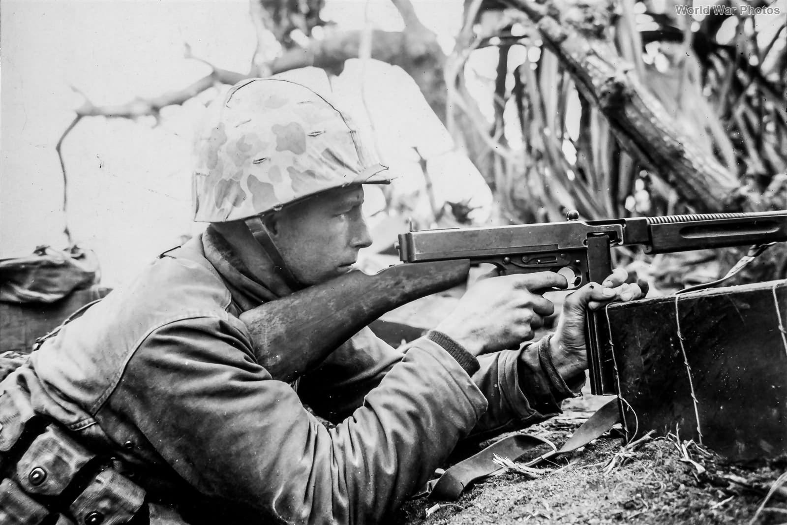 Marine Tommy Gunner in Firefight on Iwo Jima 23feb45