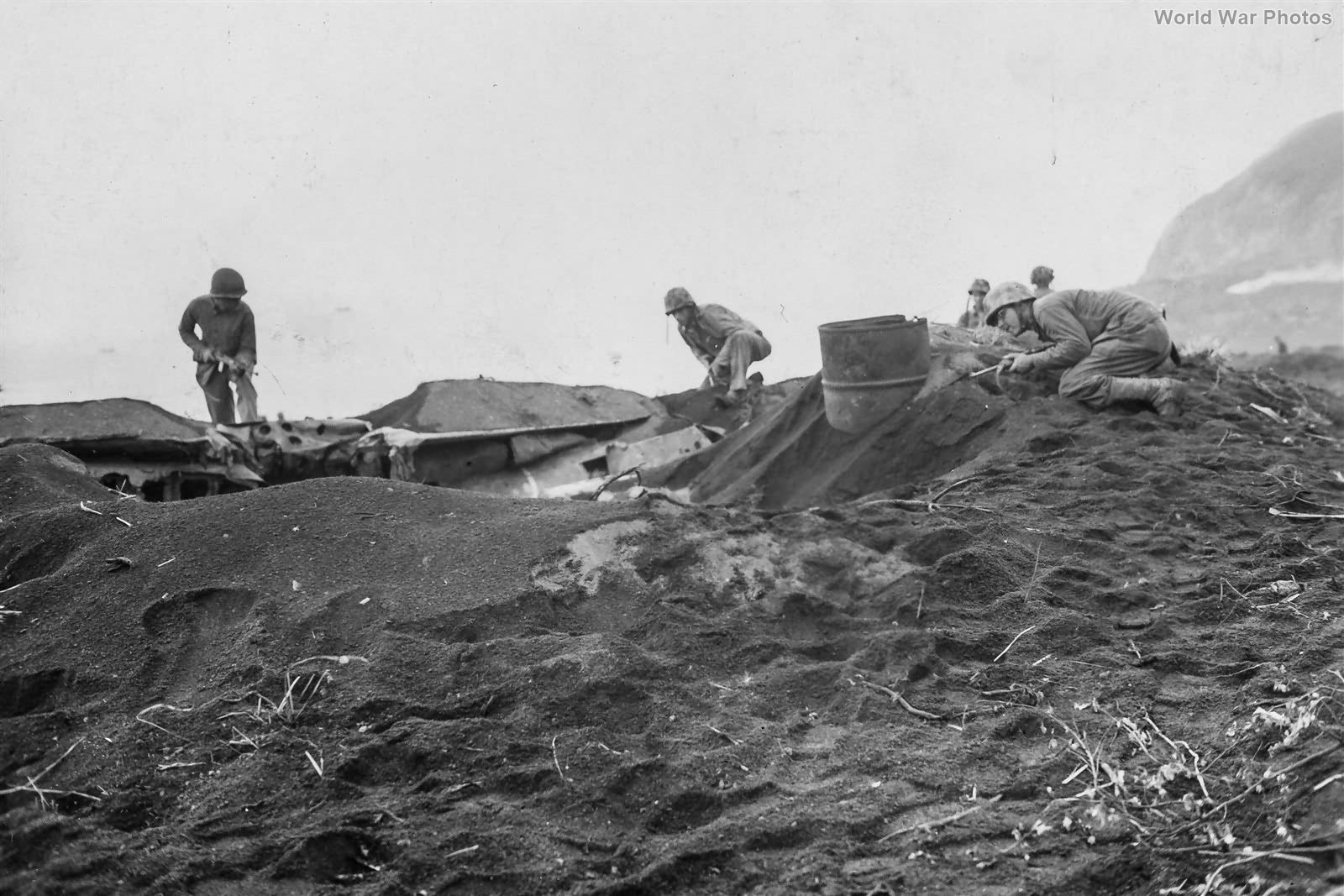 Marines clear sniper from aircraft wreck on Iwo Jima 22feb