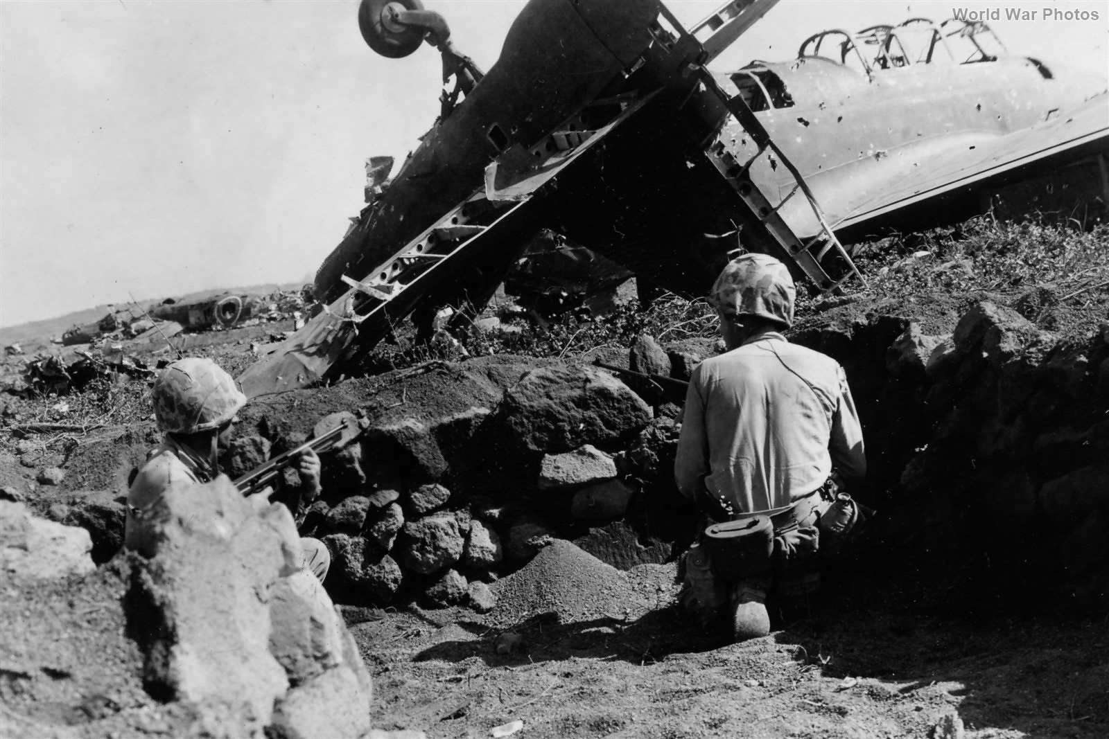 Marines on Airfield 1 Iwo Jima