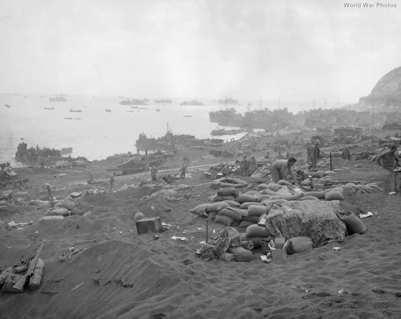 Materials on Green Beach D-Day 5 Iwo Jima
