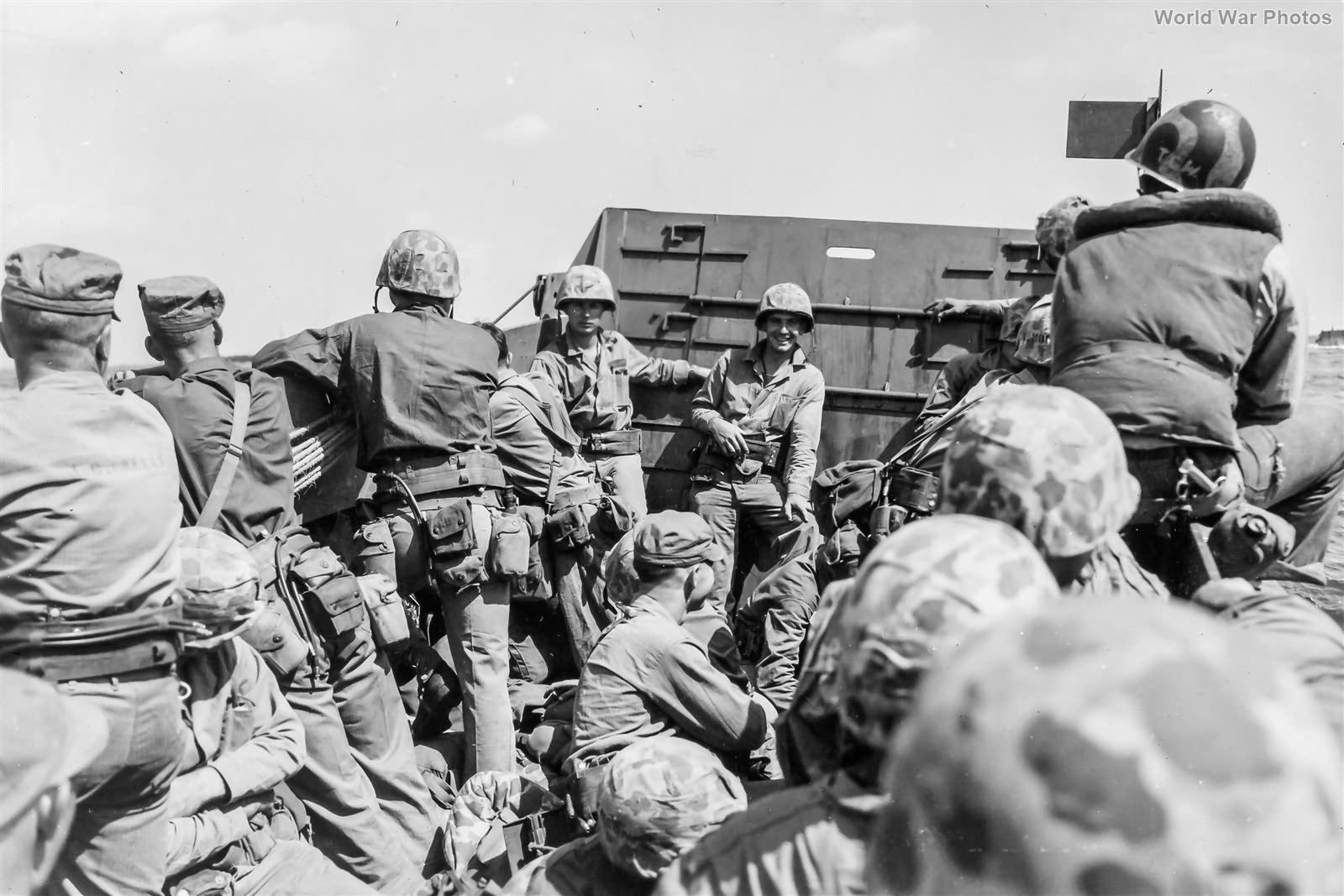 Moment before the storm Marines in LCVP Head for Iwo Jima 19feb45