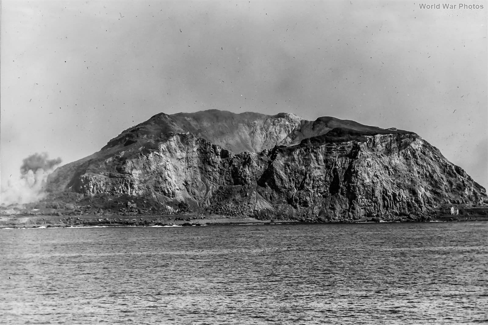 Mt Suribachi from the viewpoint of the USS Arkansas during the Battle of Iwo Jima