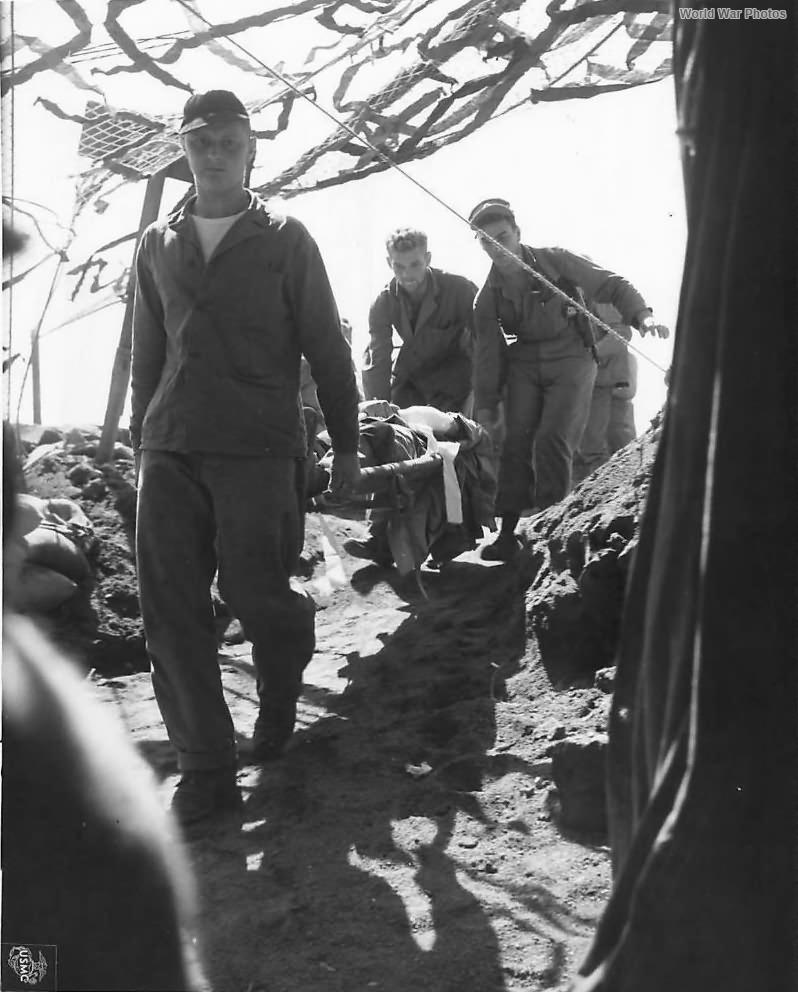 Wounded Marine at 4th Division Evacuation Hospital on Iwo Jima
