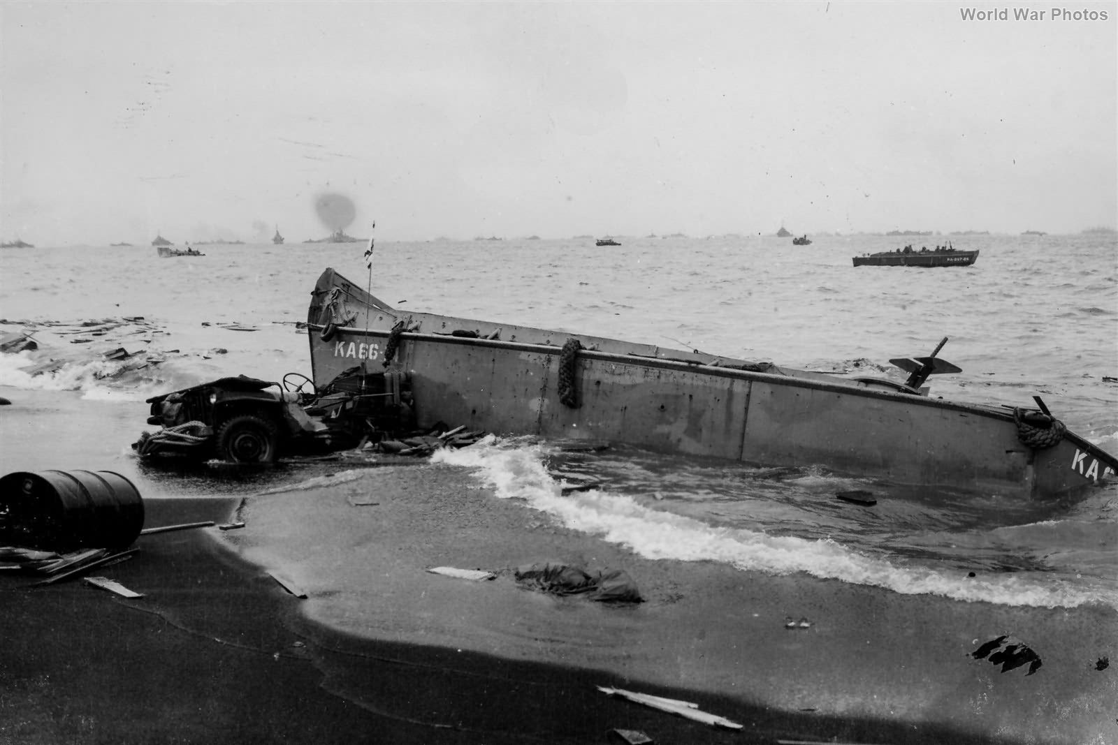 Wrecked Jeep and LCVP on Iwo Jima Beach 19feb
