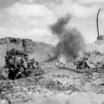 3-28 Marines Assault Under Mortar Fire Iwo Jima feb45