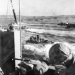 4th Marine Division LVT churn for Iwo Jima Beach 45