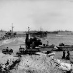 Equipment and ships on Red Beach 1 Iwo Jima 2