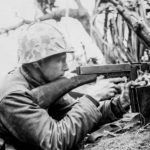 Marine Tommy Gunner in Firefight on Iwo Jima 23feb45