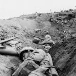 Marines dug In on Iwo Jima under mortar fire 22feb