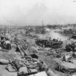 Marines offload supplies on Iwo Jima beachhead