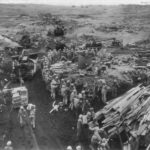 Marines use dozers to land supplies on the beach of Iwo Jima