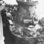 Removing dead and wounded crew of LCI-441 off Iwo Jima Beach